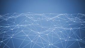 Linhas e esferas do triângulo dos dados de Digitas e da conexão de rede no conceito futurista da informática no fundo preto, 3d imagens de stock royalty free