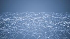 Linhas e esferas do triângulo dos dados de Digitas e da conexão de rede no conceito futurista da informática no fundo preto, 3d foto de stock
