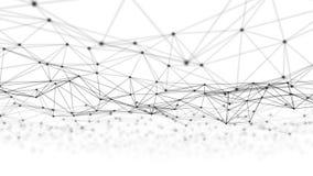 Linhas e esferas do triângulo dos dados de Digitas e da conexão de rede no conceito futurista da informática no fundo preto, 3d fotos de stock
