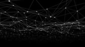 Linhas e esferas do triângulo dos dados de Digitas e da conexão de rede no conceito futurista da informática no fundo preto, 3d fotografia de stock royalty free
