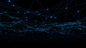 Linhas e esferas do triângulo dos dados de Digitas e da conexão de rede no conceito futurista da informática no fundo preto, 3d fotos de stock royalty free