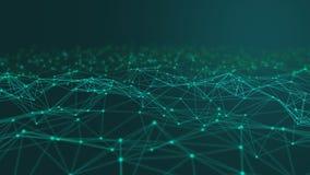 Linhas e esferas do triângulo dos dados de Digitas e da conexão de rede no conceito futurista da informática no preto, sumário 3d ilustração do vetor