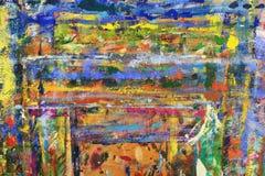 Linhas e pontos abstratos da pintura na parede Fotografia de Stock Royalty Free