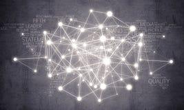 Linhas e pontos como a ideia dos trabalhos em rede tirados no fundo do cimento imagem de stock