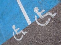 Linhas e símbolos para pessoas incapacitadas Fotografia de Stock Royalty Free