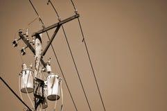 Linhas eléctricas e transformador - sepia Imagens de Stock Royalty Free