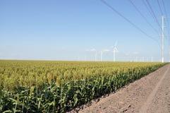 Linhas eléctricas e turbinas de vento Foto de Stock Royalty Free