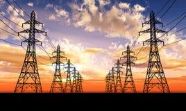 Linhas eléctricas elétricas Imagem de Stock Royalty Free