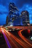Linhas eléctricas na noite. Fotografia de Stock