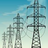 Linhas elétricas aéreas da eletricidade Imagem de Stock Royalty Free