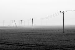 Linhas elétricas através de uma paisagem enevoada do brejo Imagem de Stock Royalty Free