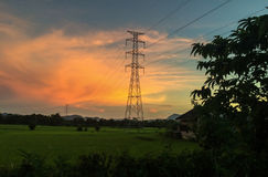 Linhas elétricas de alta tensão e campo terraced verde do arroz Fotos de Stock