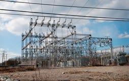 Linhas elétricas do poder superior Foto de Stock Royalty Free