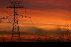 Linhas elétricas que vão de Glenrose a Fort Worth Texas Fotos de Stock