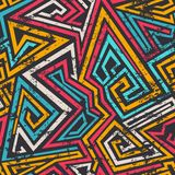 Linhas espirais coloridas teste padrão sem emenda com efeito do grunge Imagens de Stock