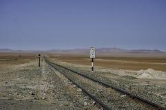 Linhas, estrada de ferro com sinal Foto de Stock Royalty Free