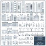 Linhas finas grupo de elementos da cidade Elementos urbanos da paisagem impredizìvel fotografia de stock royalty free