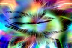 Linhas, fundo fosforescente das cruzes do arco-íris Ondas como formas, fundo abstrato imagens de stock