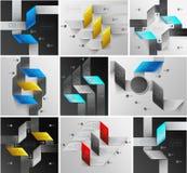 Linhas grupo das setas do infographics Fotos de Stock
