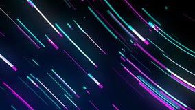 Linhas laço de néon brilhantes, tecnologia de néon moderna, immitation do movimento na estrada da noite, contexto 3d gerado por c filme
