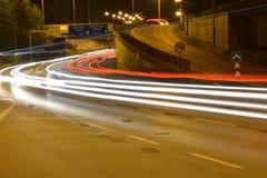 Linhas múltiplas de ilusões claras na estrada Imagens de Stock Royalty Free