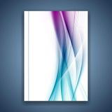 Linhas macias lisas azuis brilhantes tampa do cetim do dobrador Imagens de Stock Royalty Free