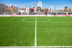 Linhas marcação brancas na grama verde no fie do futebol ou do futebol Foto de Stock Royalty Free