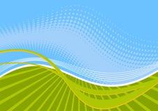 Linhas onduladas verdes e azuis Imagem de Stock