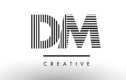 Linhas preto e branco letra Logo Design do DM D M Imagem de Stock