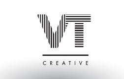 Linhas preto e branco letra Logo Design do VT V T Fotografia de Stock Royalty Free
