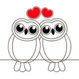 Linhas tiradas noite de amor dos pássaros das corujas no fundo branco Vetor ilustração stock