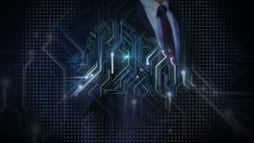 Linhas tocantes da eletrônica do homem de negócios, circuito da eletrônica do fulgor e iluminação espalhada