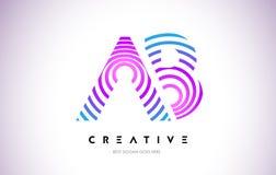 Linhas urdidura Logo Design do AB Ícone da letra feito com circular roxa Fotografia de Stock Royalty Free