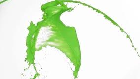 Linhas verdes no movimento lento super que está sendo feito com a pintura vídeos de arquivo