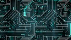 Linhas verdes que movem-se através da placa de circuito ilustração royalty free