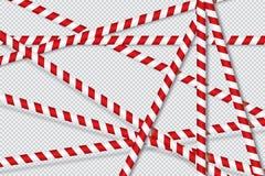 Linhas vermelhas e brancas de fita da barreira ilustração stock