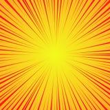 Linhas vermelhas radiais em um fundo amarelo Velocidade da banda desenhada, explosão Sumário Ilustração do vetor para o projeto g ilustração do vetor