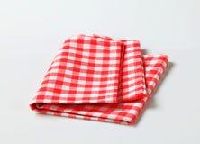 Linho de tabela vermelho e branco Foto de Stock Royalty Free