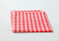 Linho de tabela vermelho e branco Imagens de Stock