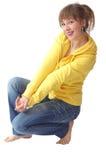 linia ładna dziewczyna siedzi Fotografia Stock