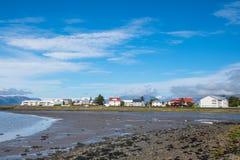 Linia brzegowa miasteczko Hornafjordur w Iceland Zdjęcia Royalty Free