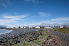 Linia brzegowa miasteczko Hornafjordur w Iceland Obrazy Royalty Free