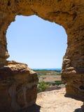 Linia brzegowa od ściany świątynia w Agrigento Zdjęcia Stock