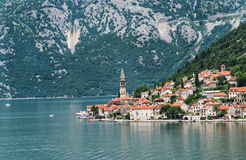 Linia brzegowa Perast, Montenegro Obraz Royalty Free