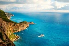 Linia brzegowa przy Lefkada wyspą w Grecja obrazy royalty free