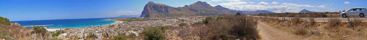 linia brzegowa target2056_0_ Italy panoramę Sicily zdjęcia royalty free
