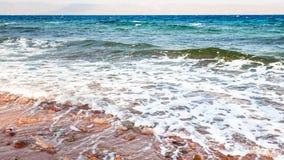 Linia brzegowa zatoka Aqaba na Czerwonym morzu w ranku Zdjęcia Stock