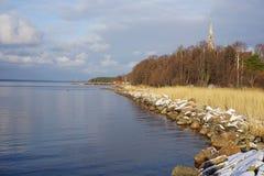 Linia brzegowa zatoka Finlandia, Leningrad region, Primorsk zdjęcia royalty free