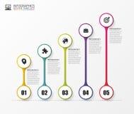 Linia czasu Infographics Nowożytnego projekta szablon z ikonami wektor Zdjęcia Royalty Free