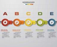 Linia czasu 5 kroków projekta infographic wektorowy szablon EPS10 Zdjęcie Stock